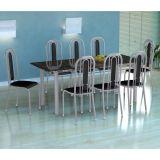 Conjunto Mesa Cordoba E 8 Cadeiras Granada Branco Prata E Preto Liso