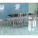 Conjunto Mesa Cordoba E 8 Cadeiras Granada Branco Prata E Preto Listrado