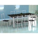 Conjunto Mesa Cordoba E 8 Cadeiras Lisboa Branco E Preto Floral