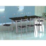 Conjunto Mesa Cordoba E 8 Cadeiras Lisboa Branco Prata E Preto Floral