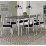 Conjunto Mesa Cordoba E 8 Cadeiras Lisboa Branco Prata E Preto Liso