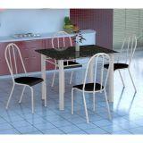 Conjunto Mesa Genova E 4 Cadeiras Alicante Branco E Preto Liso