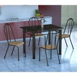 Conjunto Mesa Genova E 4 Cadeiras Alicante Preto Prata E Nature Bege