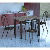 Conjunto Mesa Genova E 4 Cadeiras Alicante Preto Prata E Preto Floral