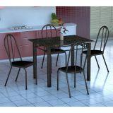 Conjunto Mesa Genova E 4 Cadeiras Alicante Preto Prata E Preto Liso