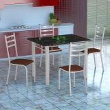 Conjunto Mesa Genova E 4 Cadeiras Monaco Branco E Amadeirado
