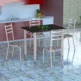 Conjunto Mesa Genova E 4 Cadeiras Monaco Branco E Branco Floral