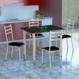 Conjunto Mesa Genova E 4 Cadeiras Monaco Branco E Preto Liso