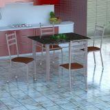 Conjunto Mesa Genova E 4 Cadeiras Monaco Branco Prata E Amadeirado
