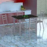 Conjunto Mesa Genova E 4 Cadeiras Monaco Branco Prata E Branco Floral