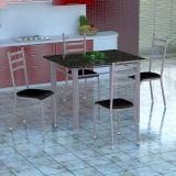Conjunto Mesa Genova E 4 Cadeiras Monaco Branco Prata E Preto Liso