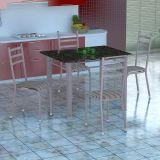 Conjunto Mesa Genova E 4 Cadeiras Monaco Branco Prata E Preto Listrado