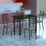 Conjunto Mesa Genova E 4 Cadeiras Monaco Preto Prata E Branco Floral