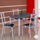 Conjunto Mesa Genova e 4 Cadeiras Lisboa Branco & Preto Floral |Fabone