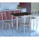 Conjunto Mesa Genova e 4 Cadeiras Lisboa Branco & Preto List