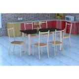Conjunto Mesa Granada E 6 Cadeiras Lisboa Branco E Nature Bege