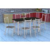 Conjunto Mesa Granada E 6 Cadeiras Lisboa Branco E Preto Listrado