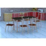 Conjunto Mesa Granada E 6 Cadeiras Lisboa Branco Prata E Amadeirado