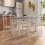 Conjunto Mesa Granada E 6 Cadeiras Lisboa Branco Prata E Nature Bege