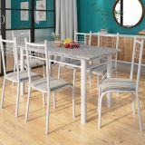 Conjunto Mesa Granada E 6 Cadeiras Lisboa Branco Prata E Preto Listrado