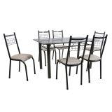 Conjunto Mesa Granada E 6 Cadeiras Lisboa Preto Prata E Nature Bege