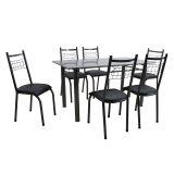 Conjunto Mesa Granada E 6 Cadeiras Lisboa Preto Prata E Preto Liso