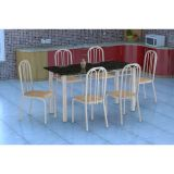 Conjunto Mesa Granada E 6 Cadeiras Sevilha Branco E Nature Bege