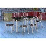 Conjunto Mesa Granada E 6 Cadeiras Sevilha Branco E Preto Floral