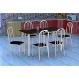 Conjunto Mesa Granada E 6 Cadeiras Sevilha Branco E Preto Liso
