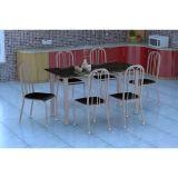 Conjunto Mesa Granada E 6 Cadeiras Sevilha Branco Prata E Preto Liso