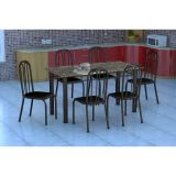 Conjunto Mesa Granada E 6 Cadeiras Sevilha Preto Prata E Preto Liso