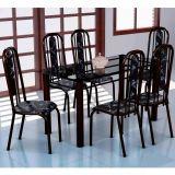 Conjunto Mesa Granada e 6 Cadeiras Granada Preto & Preto Floral|Fabone