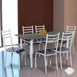 Conjunto Mesa Lisboa e 6 Cadeiras Monaco Branco & Preto Floral