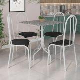 Conjunto Mesa Malaga E 4 Cadeiras Alicante Branco E Preto