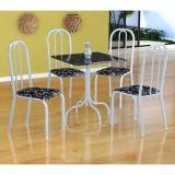 Conjunto Mesa Malaga E 4 Cadeiras Madri Branco E Preto Floral