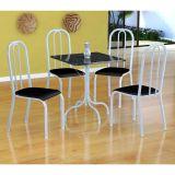 Conjunto Mesa Malaga E 4 Cadeiras Madri Branco E Preto Liso