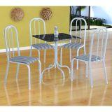 Conjunto Mesa Malaga E 4 Cadeiras Madri Branco E Preto Listrado