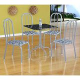 Conjunto Mesa Malaga E 4 Cadeiras Madri Branco Prata E Branco Floral