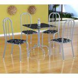 Conjunto Mesa Malaga E 4 Cadeiras Madri Branco Prata E Preto Floral