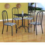Conjunto Mesa Malaga E 4 Cadeiras Madri Preto Prata E Branco Floral