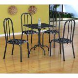 Conjunto Mesa Malaga E 4 Cadeiras Madri Preto Prata E Preto Floral