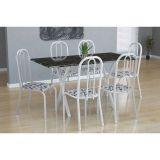 Conjunto Mesa Miame E 6 Cadeiras Madri Branco E Branco Floral