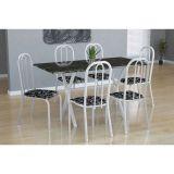 Conjunto Mesa Miame E 6 Cadeiras Madri Branco E Preto Floral