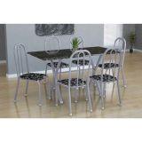 Conjunto Mesa Miame E 6 Cadeiras Madri Branco Prata E Preto Floral