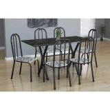Conjunto Mesa Miame E 6 Cadeiras Madri Preto Prata E Branco Floral