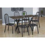 Conjunto Mesa Miame E 6 Cadeiras Madri Preto Prata E Preto Floral