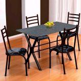 Conjunto Mesa Miame e 4 Cadeiras Monaco Preto & Preto Floral