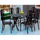 Conjunto Mesa Miame e 6 Cadeiras Granada Preto & Preto Flora