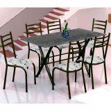 Conjunto Mesa Miame e 6 Cadeiras Monaco Preto & Branco Floral
