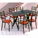 Conjunto Mesa Miame e 6 Cadeiras Monaco Preto & Madeirado